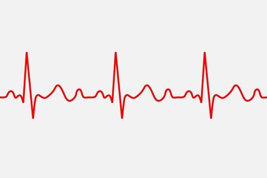 heartbeat icon. ECG Pathology Trace, Vector illustration.