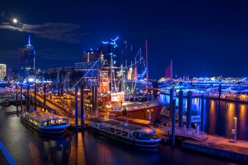 Hamburg, Panorama at night. With blue illuminated harbour