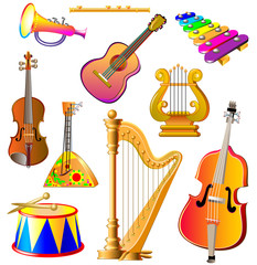 Set of different musical instruments on white background, vector cartoon image.