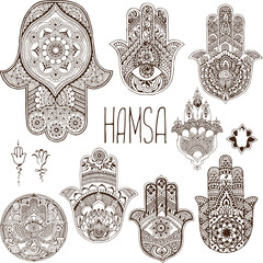Hamsa is an amulet. Palm in the style of mehendi.