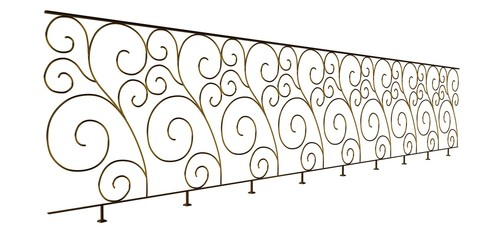 3d rendering of a golden stair rail isolated on a white background