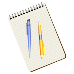 Notebook, blue  pen and yellow pen on a white background