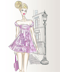 Fotomurales - Young beautiful sexy woman in fashion sketch style. Street style girl wearing doll dress at city background vector