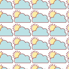 nice cloud with sun tropical weather background vector illustration