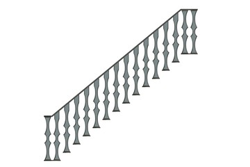 3d rendering of a metalic front view stairs rails isolated on a white background