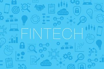 Fintech (financial technology) vector website banner, background icons business, blockchain