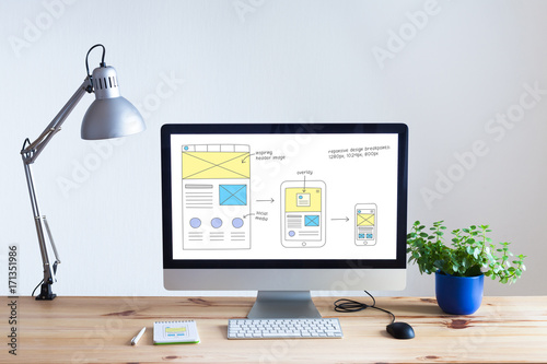 Wall mural Responsive web design website wireframe sketch layout on computer screen