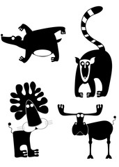 Animal icons isolated. Decor animal silhouette isolated illustration collection for design