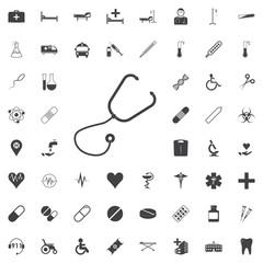 Stethoscope Medical & Health Care Symbol Glyph black icon on the white background medicine, medical set Flat vector illustration.