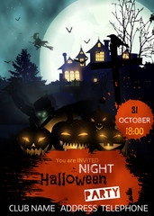 Halloween party flyer with pumpkins,tombstone, rising zombie in  front of scary house in dark black forest.