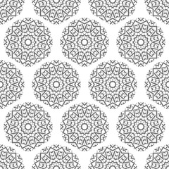 Abstract seamless pattern of geometrical elements. Stylized snowflakes.