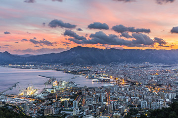Fotorolgordijn Palermo Aerial view of Palermo at sunset, Italy