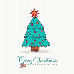 Christmas and new year holiday pine tree cartoon