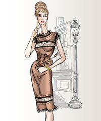 Fotomurales - Young beautiful sexy woman in fashion sketch style. Elegant style girl wearing cocktail dress at city background vector