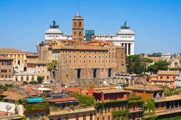Rome, Italy, Cityscape frome Palatino in summer on sunny day.