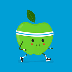 Fitness  sport run apple Vector modern flat