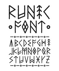 Runic hand drawn font. Vector ink brush
