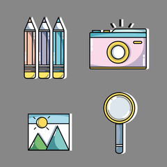 set knowledge education with creative icon vector illustration