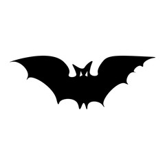 Silhouette of the long-eared Bat. Halloween flying bat on white background. Flat design Vector Illustration