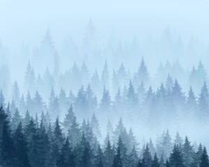 Forest in the fog. Minimalistic illustration. Digital drawing.