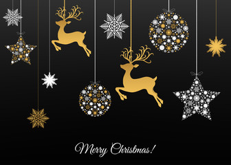 Fotomurales - Merry Christmas greeting  card on black  background