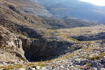 E4 European long distance hiking path near Katsiveli shelter on the Omalos Plateau, Lefka Ori Mountain Range, Crete, Greece