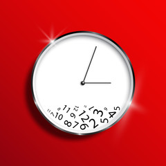 A wall clock on a red background, a mess. Time management. Illustration