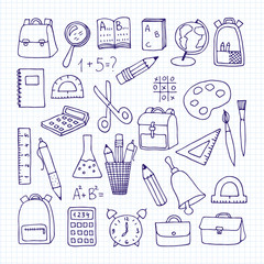 a set of school subjects on a notebook sheet. Back to school. Vector illustration
