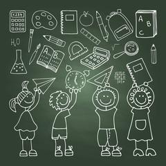 Shool icons on the green blackboard
