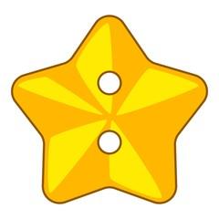 Star cloth button icon, cartoon style