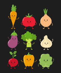 1458643 Cute happy smiling raw vegetable