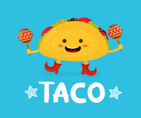 Tasty cute happy smiling taco dance with maracas