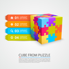 Colored puzzle cube info object. Vector illustration