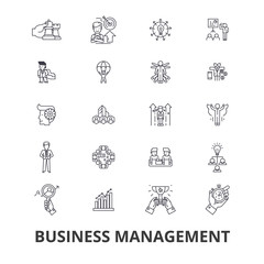 Business management, marketing, plan, manager, organization, meeting, project line icons. Editable strokes. Flat design vector illustration symbol concept. Linear signs isolated on background