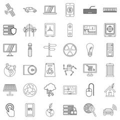 Communication icons set, outline style