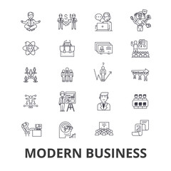 Modern business, management, marketing, plan, control, organization line icons. Editable strokes. Flat design vector illustration symbol concept. Linear signs isolated on background