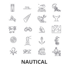 Nautical, marine, sailing, anchor, sea, navy, ocean, fishing line icons. Editable strokes. Flat design vector illustration symbol concept. Linear signs isolated on background
