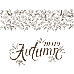 Lettering Hello Autumn with ornate elements