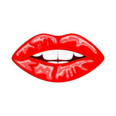 Red female lips on white background