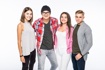 Portrait of young casual people with arms folded over white background