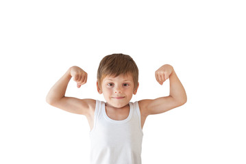 cute healthy kid showing his muscles on white isolated background