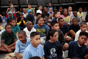 B.K. Bruce Elementary School fourth graders receive instruction from their teacher during music class after the the school was closed for two weeks in the aftermath of tropical storm Harvey in Houston