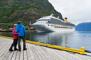 Cruise liner in the waters of Aurlandsfjord, Norway