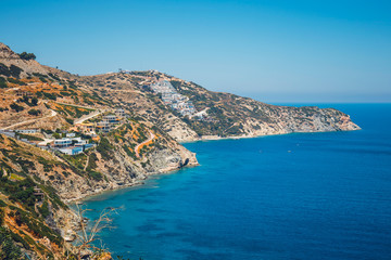 Beautiful greek seascape at sunny day. Place of north Crete, east of Agios Nikolaos