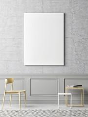 Mock up poster minimalism interior concept, 3d illustration