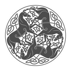Ancient celtic mythological symbol of horse trinity