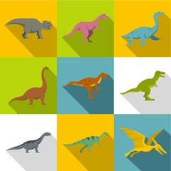Figures of dinosaurs icon set, flat style