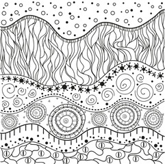 Abstract eastern pattern. Hand drawn texture with abstract patterns on isolation background. Design for spiritual relaxation for adults. Line art creation. Black and white illustration for coloring.