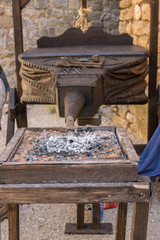 traditional forging bellows made of wood and leather, used in forging work, fanning the fire and heat