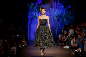 A model presents creations from designer Naeem Khan's Spring/Summer 2018 collection during New York Fashion Week in New York